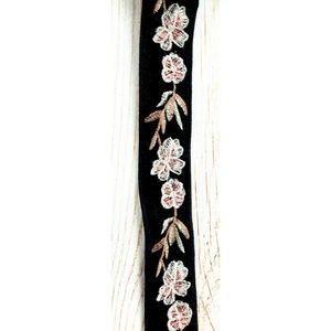 Boutique Accessories - Black velvet with pink floral embroidery belt